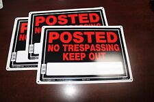 """POSTED NO TRESPASSING KEEP OUT - NEW 3 set 10"""" x 14"""" Aluminum metal Sign Hillman"""