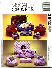 "McCalls Crafts 3042 11 1/2"" Fashion Doll Bean Bag Furniture Sofa Chair Pillow"