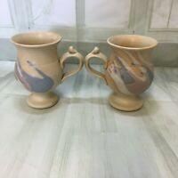Vintage drip design 2 X mug handmade Excellent condition like new no chips crack
