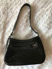 Liz Clairborne Black Crock Patern Faux Leather Small Purse/ Handbag Classic