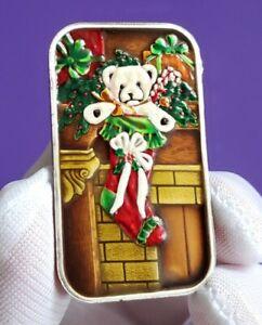 1995 Christmas Teddy Bear 1 troy oz .999 Fine Silver Enameled Art Bullion Bar