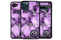 Purple and Silver Marble Circle Monogram Phone Case for Apple Samsung LG Google
