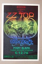 ZZ Top 1976 Concert Tour Poster Three Rivers Stadium Aerosmith