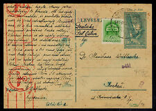 1941 Nagykemissa Hungary Tabor Internment Camp Censor Postcard Cover to Poland