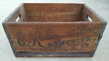 Vintage E Robinsons Sons Brewers Scranton PA 1934 Heavy Wood Beer Crate Rare