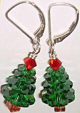 EARRINGS Artisan USA Handmade Christmas Crystal Red Green Tannenbaum Tree