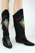 Vintage Rushhour Women's Black Moccasin Boots SZ 7.5 Aztec Boho Fringe Teal Red
