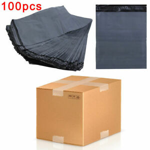 """100 MAIL BAGS - 12"""" x 16"""" STRONG POLY MAILING POSTAGE POSTAL SELF SEAL GREY"""