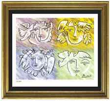 """Pablo Picasso Signed/Hand-Numberd Ltd Ed """"4 Faces Peace"""" Litho Print (unframed)"""