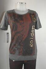 Apriori Camiseta 38 Gris Manga Corta Estampado en Rojo Oxidado Oro Top poliéster