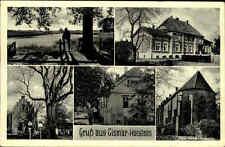 Cismar Schleswig-Holstein 1954 Mehrbildgrußkarte Kirche Menschen Bäume gelaufen