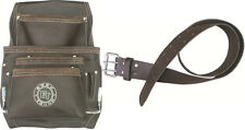 10 Pocket Oil Tanned Leather Tool Pouch Bag + Leather Waist Tool Belt