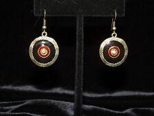 Earings - Metal & Enamel Dangle -  Black & Gold- 1 pair