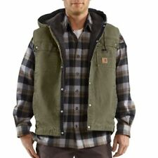 Carhartt 100114 Men's Sandstone Hooded Multi-Pocket Vest Army Green 3XL