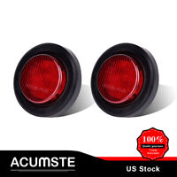 "2x Red Side Marker Light in Stripe 2"" Round 9 LED W/ Grommet For Truck Trailer"