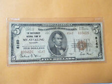 1929 $5 THE MONTGOMERY NATIONAL BANK OF MT. STERLING,KENTUCKY