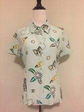 RARE Vintage Chanel Silk Accessory Print Silk Shirt S 96P