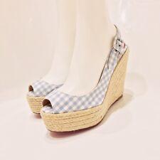 c71df325dd0e CHRISTIAN LOUBOUTIN - Dorothy Plaid Slingback Platform Wedge Heel Sandals  8.5 39