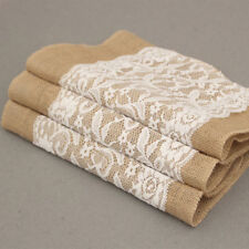 Vintage Hessian Lace Table Runners Burlap Jute Lace Rustic Wedding Tablecloth SI