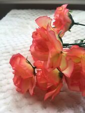 Faux Fake Flowers Bunch Coral Peach Leaves White Rose Yellow Wedding Party Gift