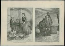 1888 - ANTIQUE PRINT - IRELAND BREEDING POULTRY CARRYING SEED POTATOES (268)