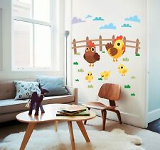 Children Countryside Wooden Hens Chicken Grass Clouds Wall Sticker Decal 16