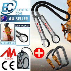 Aluminum Lock Carabiner+ Climbing Safety Rope Cord Prusik Loop Rock Rappelling