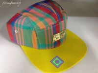 5 panel yellow check snapback caps, strap back flat peak baseball hats, retro,