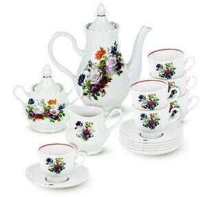 Porcelain Coffee Set w/ Floral Pattern by Dobrush Belarus Flower Bouquet, 15-pc