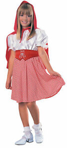 Red Riding Hood Child Girls Costume Hood Fancy Dress With White Top Rubies