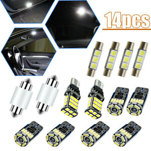 14pcs White LED Interior Lights Package Kit Universal Auto Car Accessories