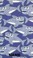 """30"""" x 60"""" Name Embroidered Beach / Pool Towel With Shark Friends Design"""