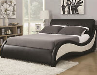 NEW MACON MODERN WHITE & BLACK LEATHERETTE QUEEN or KING SIZE PLATFORM BED