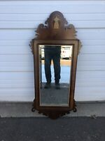 Antique Chippendale Style Mirror With Inlaid Pineapple Design And Beveled Glass