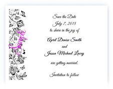 100 Personalized Custom Black Vintage Floral Bridal Wedding Save The Date Cards