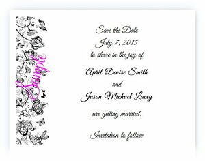 100 Personalized Custom Black Vintage Floral Bridal Wedding Save The Date Cards