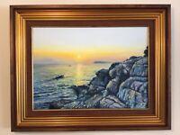 Gilt framed original signed oil painting Lapad Peninsula Yugoslavia stunning sea