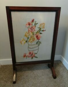 Antique Mahogany Fire Screen with Embroidered Roses in Vase Image Behind Glass