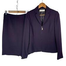 Tahari Arthur S. Levine Dark Purple Two Piece Blazer Skirt Suit size 4