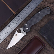 C95 black carbon fiber handle stainless steel blade back lock folding knife