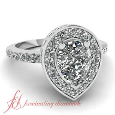 1.65 Ct Pear Shaped Natural Diamond Halo Pave Set Engagement Rings In White Gold