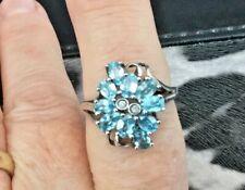 Sterling Silver Seafoam Coloured Blue Zircon & Diamond Ring - Size N - Certified