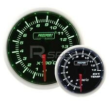 Prosport 52mm Super Smoked Green / White Exhaust Gas Temperature EGT Gauge