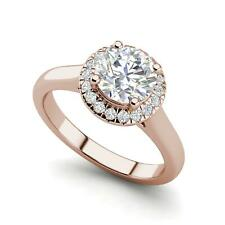 Halo Solitaire 1.15 Carat VVS2/F Round Cut Diamond Engagement Ring Rose Gold