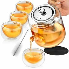 Glass Teapot Set with Infuser for Loose Tea - 1100ml Stove Top Safe Borosilic...