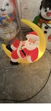 Rare Santa On The Moon Blow Mold