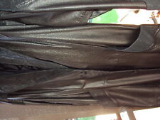 WOMAN'S  LEATHER  LONG  COAT WITH DESIGN ON COLLAR,ARM, & BACK M/LARGE NO TARES