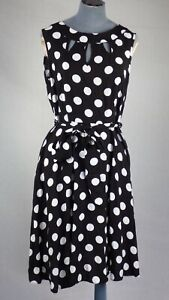 Wallis Black White Polka Dot Spot Elegant Fit & Flare Dress Cut Out Detail UK 14