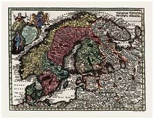 Old Vintage Map of Scandinavia Denmark Sweden Norway Seutter 1744