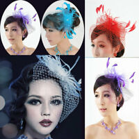 Women Feather Fascinator Hat Hair Clip Wedding Bridal Birdcage Veil Headwear US